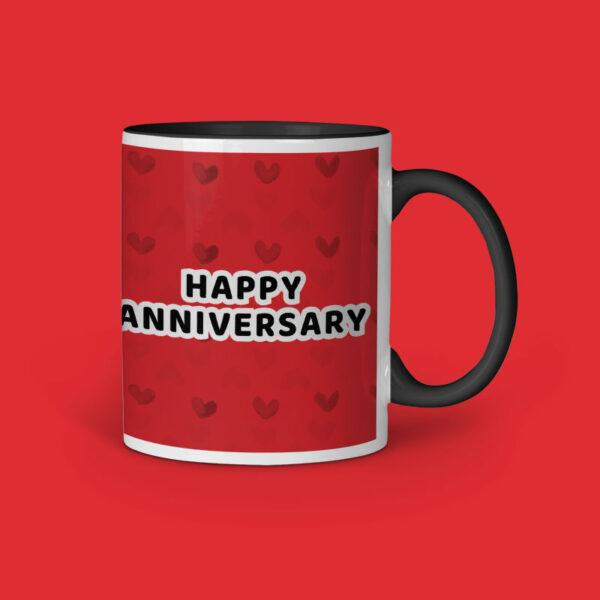 Happy Anniversary Personalized Black Inner Colored Ceramic Mug Right Side