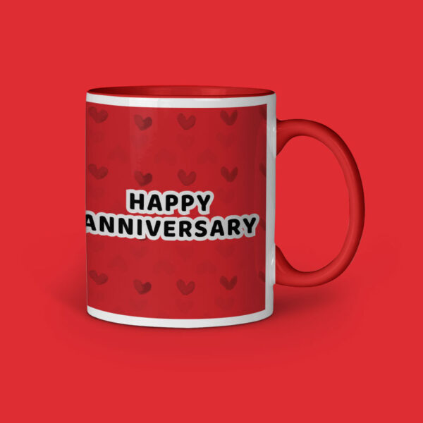 Happy Anniversary Personalized Red Inner Colored Ceramic Mug Right Side