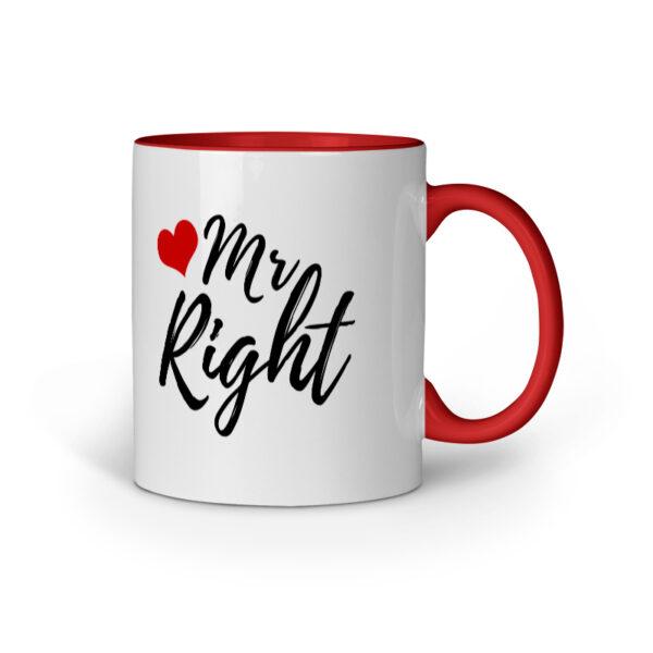 Mr. Right Red Inner Colored Ceramic Mug