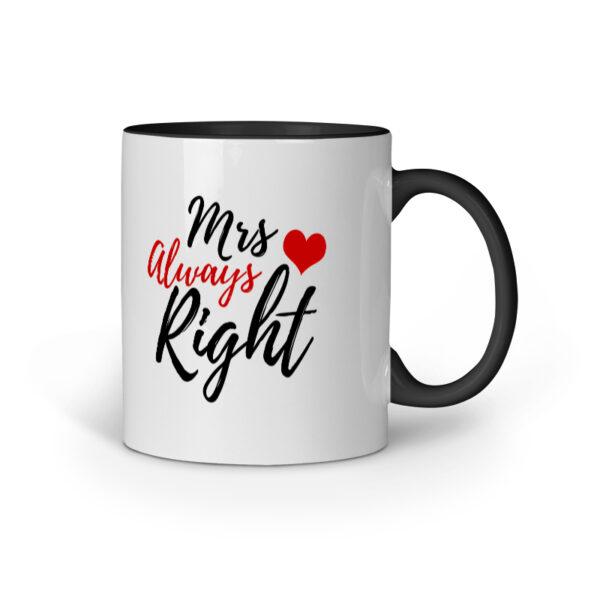 Mrs. Always Right Black Inner Colored Ceramic Mug