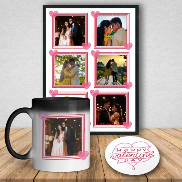Valentine's Special Personalized Poster, Magic Mug And Coaster Combo