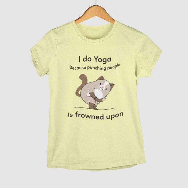 I do Yoga Butter Yellow Round Neck T-Shirt