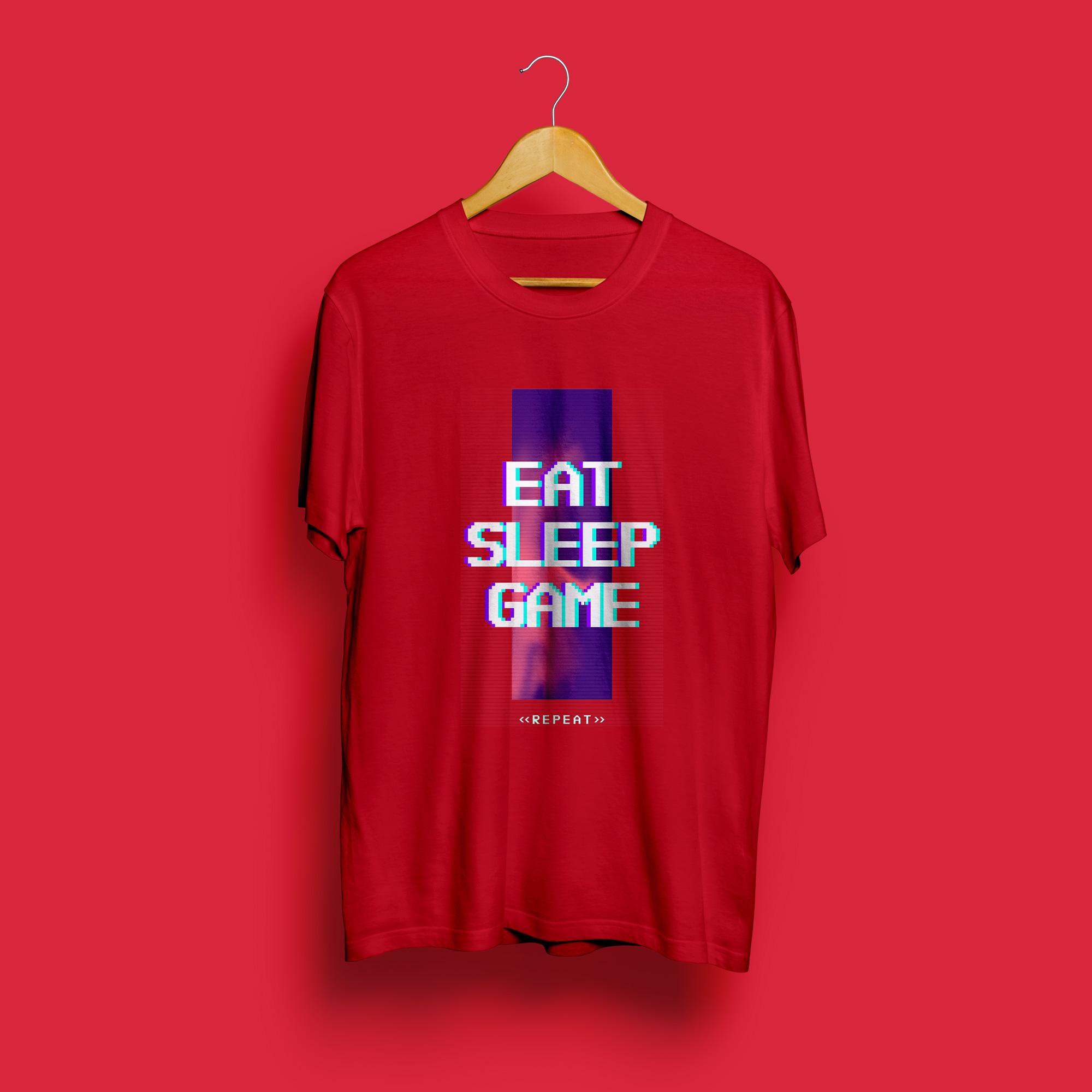 Eat Sleep Game Repeat Round Neck T-Shirt