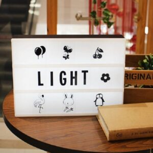 Cinema Light Box with Changeable Letter & Symbols - Black Letters