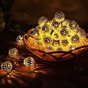 Golden Metal Ball LED Fairy Lights