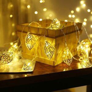 Golden Metal Leaf LED String Lights (10 Lamps)