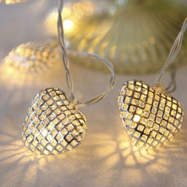 Metal Heart Fairy Lights (16 Lamps)