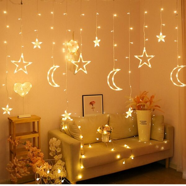Star And Moon LED String Lights (Warm White)