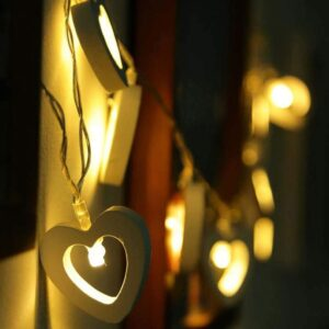 Wooden Heart Shaped Fairy String Decoration Lights (16 Lamps)